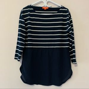 🧡3/$30 Joe Fresh Navy Blue Striped Top in Medium